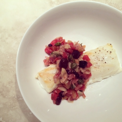 halibut with artichoke & olive caponata