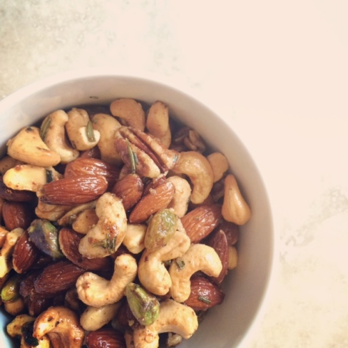 spiced mixed nuts with brown sugar + rosemary butter | via she likes to eat