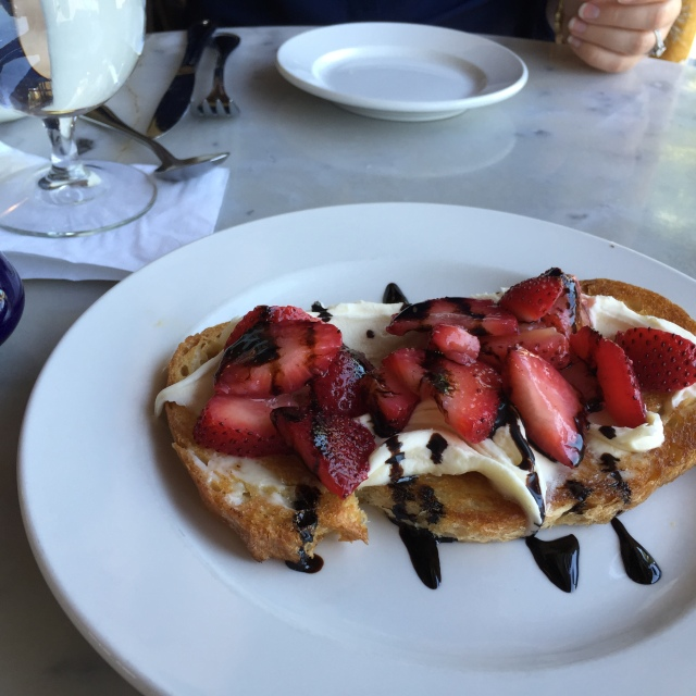 strawberry + mascarpone tartine with balsamic reduction