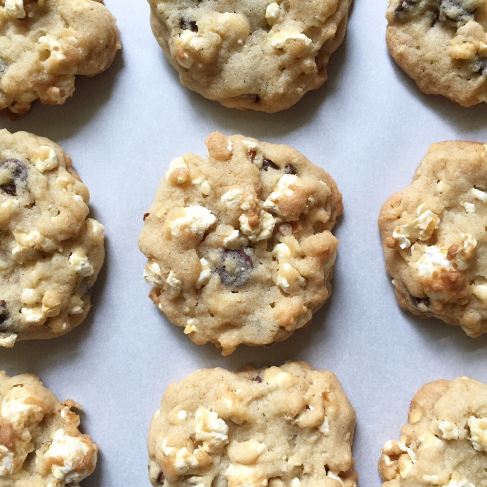 popcorn + chocolate chip cookies